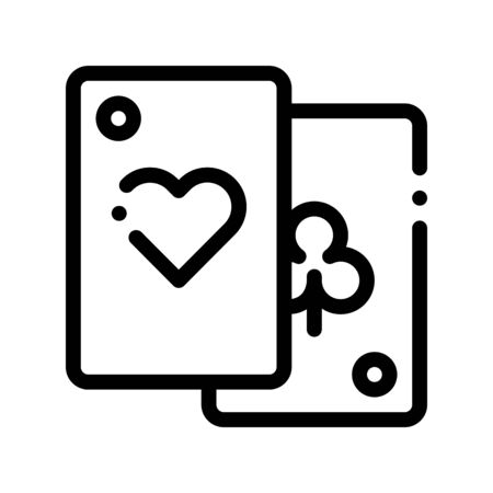 Game Element Cards Vector Thin Line Sign Icon. Detail Of Table Or Adult Gamble Game Pocker, Playing Gaming Items Figure Pieces Linear Pictogram. Joyful Things Monochrome Contour Illustration Illustration