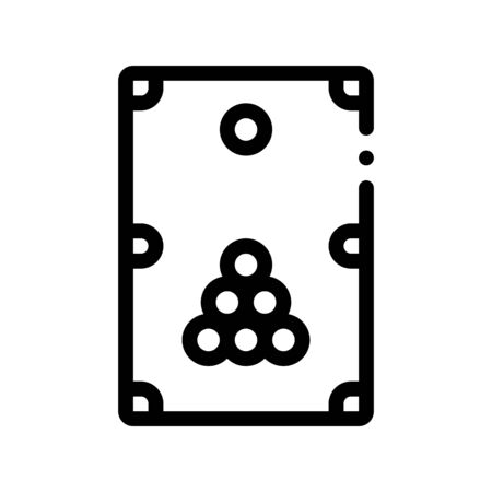 Interactive Game Billiard Vector Thin Line Icon. Balls And Billiard-cue Cue Children Playing Gaming Items Figure Pieces Linear Pictogram. Joyful Things Monochrome Contour Illustration  イラスト・ベクター素材