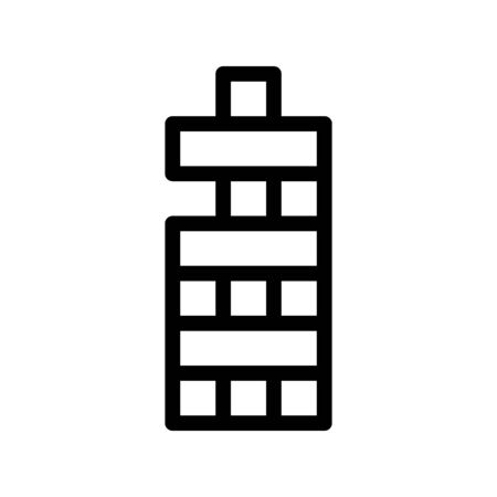 Interactive Kids Game Vector Thin Line Icon. Child And Adult Table Wooden Tower Game Children Playing Gaming Items Figure Pieces Linear Pictogram. Joyful Things Monochrome Contour Illustration  イラスト・ベクター素材