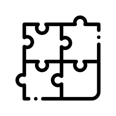 Interactive Kids Game Puzzle Vector Sign Icon Thin Line. Baby And Adult Table Game Children Playing Gaming Items Figure Pieces Linear Pictogram. Joyful Things Monochrome Contour Illustration