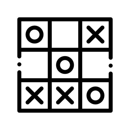 Kids Game Noughts And Crosses Vector Sign Icon Thin Line. Baby And Adult Table Game Children Playing Gaming Items Pieces Linear Pictogram. Joyful Things Monochrome Contour Illustration  イラスト・ベクター素材