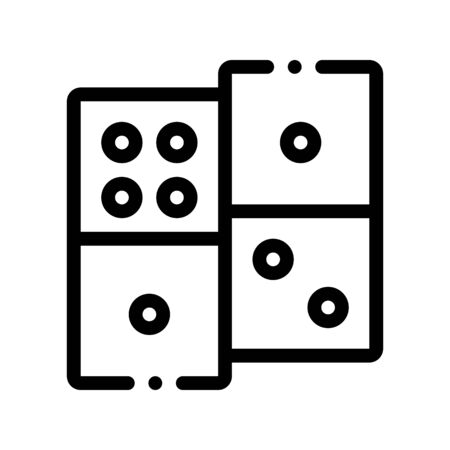 Interactive Kids Game Dominoes Vector Sign Icon Thin Line. Baby And Adult Dominoes Children Playing Gaming Items Pieces Linear Pictogram. Joyful Things Monochrome Contour Illustration