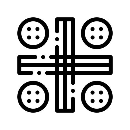 Interactive Kids Ludo Game Vector Thin Line Icon. Traditional Board Game For Children And Adult, Playing Gaming Items Pieces Linear Pictogram. Joyful Things Monochrome Contour Illustration