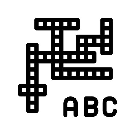 Interactive Kids Game Crossword Vector Sign Icon Thin Line. Baby Education Crossword Puzzle Children Playing Gaming Items Pieces Linear Pictogram. Joyful Things Monochrome Contour Illustration