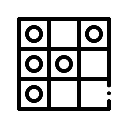 Interactive Kids Game Draughts Vector Sign Icon Thin Line. Baby Education Play Table Game Checks Children Playing Gaming Items Pieces Linear Pictogram. Joyful Things Monochrome Contour Illustration