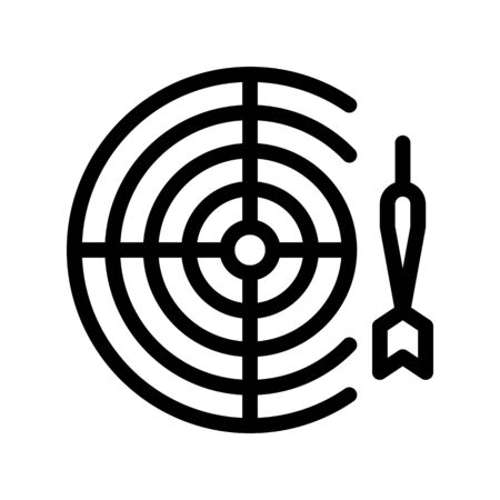 Interactive Kids Game Darts Vector Thin Line Icon. Baby Pub Bar Play Game With Dart And Board Children Playing Gaming Items Pieces Linear Pictogram. Joyful Things Monochrome Contour Illustration