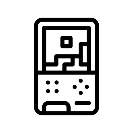 Interactive Kids Video Game Vector Icon Thin line. Baby Electronic Play Game Children Playing Gaming Items Pieces Linear Pictogram. Joyful Things Monochrome Contour Illustration