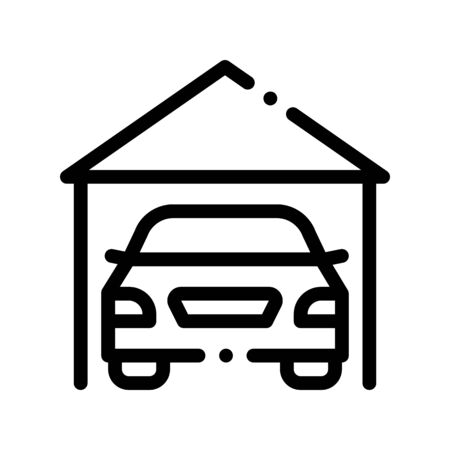 Garage Shed With Car Vehicle Vector Thin Line Icon. Automobile Autocar In Garage Linear Pictogram. Mortgage On Real Estate, Rent, Buy Or Sale Building Contour Monochrome Illustration Иллюстрация