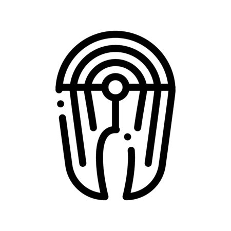 Healthy Food Piece Of Fish Vector Thin Line Icon. Ecology Nature Fish Product Steak Linear Pictogram. Organic Healthcare Vitamin Nutrition Pork Beef Monochrome Contour Illustration