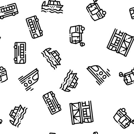 Public Transport Seamless Pattern Vector. Trolleybus And Bus, Tramway And Train Illustration Illustration
