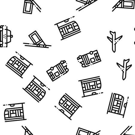Public Transport Seamless Pattern Vector. Trolleybus And Bus, Tramway And Train Illustration Ilustração