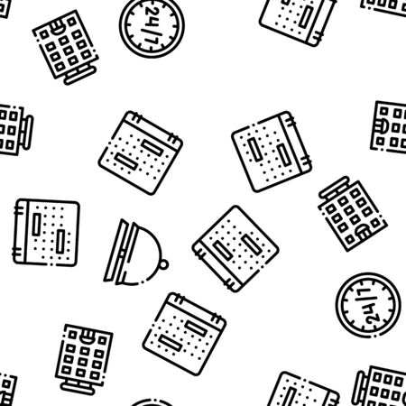 Hostel Seamless Pattern Vector. Building Hostel And Location, Calendar And Parking Symbol, Bed And Laundry Machine Linear Pictograms. Wifi Internet Illustration