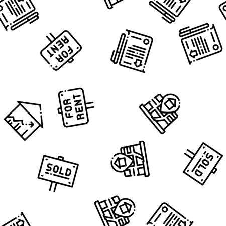 Building House Sale Seamless Pattern Vector. Building Sale And Rent Tablet, Web Site, Smartphone Application Linear Pictograms. Garage, Skyscraper, Truck Cargo Illustration Ilustração