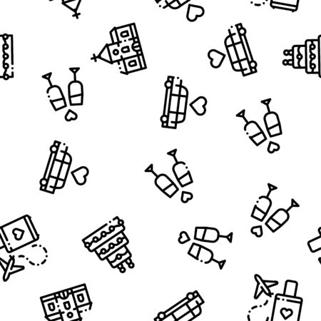 Wedding Seamless Pattern Vector. Bride And Groom, Rings And Limousine Wedding Elements. Church And Arch, Fireworks And Dancing Black Contour Illustration