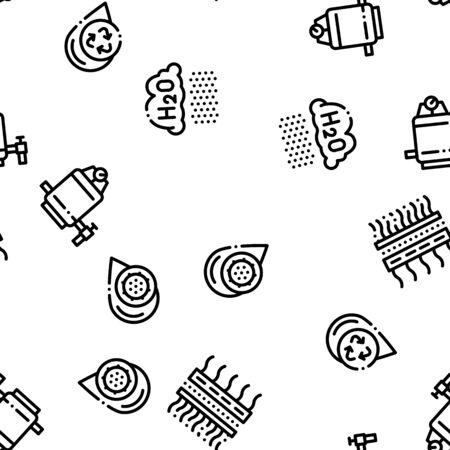 Water Treatment Seamless Pattern Vector. Filter And Cleaning System Water Treatment Elements From Microbe Germs. Illustration