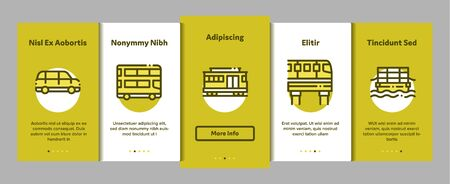 Collection Public Transport Vector Onboarding Mobile App Page Screen. Trolleybus And Bus, Tramway And Train, Cable Way And Monorail Transport Pictograms. Car And Taxi, Plane And Ship Illustrations
