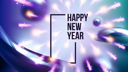 Celebrating Happy New Year Invite Banner Vector. Colorful Glossy Water Drops And Black Words With Frame Decorated Fireworks On New Year Greeting-card Annonce. Horizontal Poster 3d Illustration