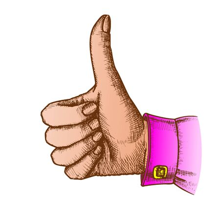 Female Hand Make Gesture Thumb Finger Up Vector. Woman Showing Gesture Sign Like Good Emotion And Expression. Girl Wrist Gesturing Signal Color Hand Drawn Closeup Vintage Illustration Standard-Bild - 132380691