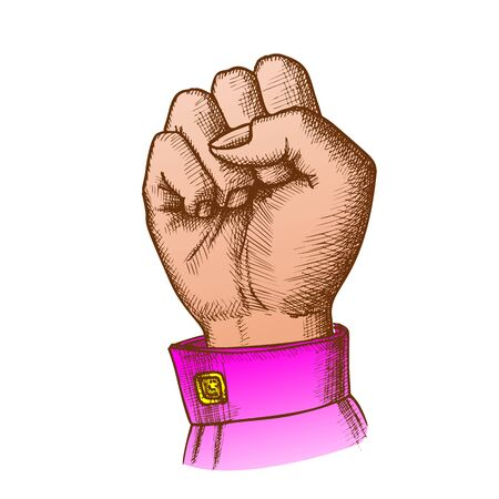 Woman Hand Clenched Finger In Fist Gesture Vector. Female Arm Gesture Showing Sign Power Or Disagree. Girl Wrist Gesturing Signal Color Designed In Vintage Style Closeup Illustration Standard-Bild - 132380698