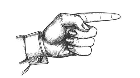 Female Hand Pointer Finger Showing Gesture Vector. Woman Index Finger Arrow Suggesting Direction Course. Lady Forefinger Wrist Gesturing Choice Drawn In Vintage Style Monochrome Closeup Illustration
