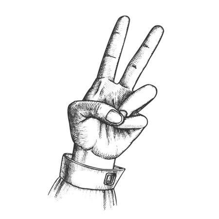 Hand Gesture Peace Symbol Two Finger Up Ink Vector. Woman Arm Gesture Showing Scissors Or Freedom Sign. Female Wrist Gesturing Cheer Signal Black And White Hand Drawn Retro Style Closeup Illustration Standard-Bild - 132380704