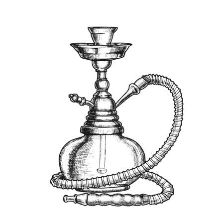 Shisha Lounge Bar Relax Ausrüstung Vintage Vector. Stehende arabische traditionelle rauchende kulturelle Huka. Orientalische Entspannung Aroma Türkische Shisha Ausrüstung Monochrome Handgezeichnete Illustration