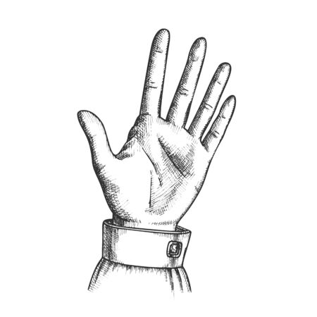 Female Hand Make Gesture Five Fingers Up Vector. Woman Demonstrate Gesture Sign Amount. Girl Open Palm Gesturing Counting Number Signal Black And White Hand Drawn In Retro Style Closeup Illustration Standard-Bild - 132380705