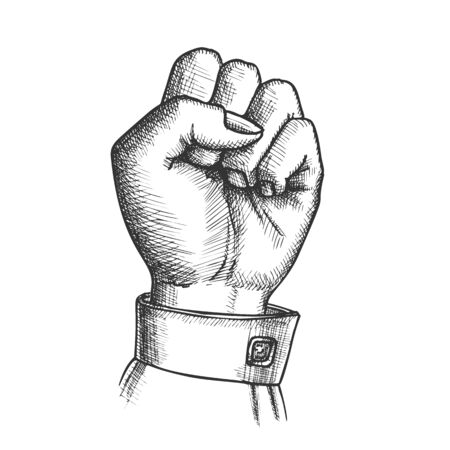 Woman Hand Clenched Finger In Fist Gesture Vector. Female Arm Gesture Showing Sign Power Or Disagree. Girl Wrist Gesturing Signal Monochrome Designed In Vintage Style Closeup Illustration  イラスト・ベクター素材