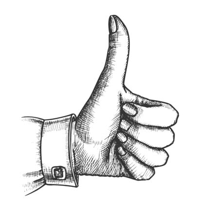 Female Hand Make Gesture Thumb Finger Up Vector. Woman Showing Gesture Sign Like Good Emotion And Expression. Girl Wrist Gesturing Signal Black And White Hand Drawn Closeup Vintage Illustration Standard-Bild - 132380708