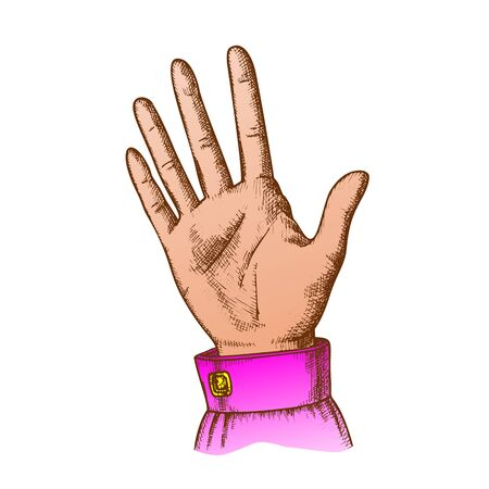 Female Hand Make Gesture Five Fingers Up Vector. Woman Demonstrate Gesture Sign Amount. Girl Open Palm Gesturing Counting Number Signal Color Hand Drawn In Retro Style Closeup Illustration Standard-Bild - 132380712