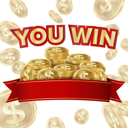 Big Win Isolated . Golden Casino Treasure. Big Win Banner For Online Casino, Card Games, Poker, Roulette. Imagens