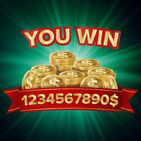 Big Win . Background For Online Casino, Gambling Club, Poker, Billboard. Gold Coins Jackpot Illustration.