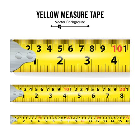 Yellow Measure Tape Illustration. Measure Tool Equipment In Centimeters. Several Variants, Proportional Scaled.