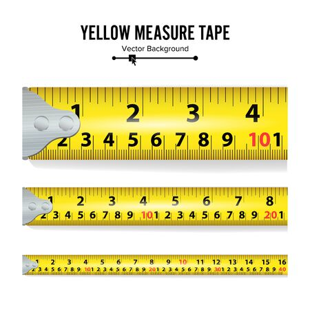 Yellow Measure Tape Illustration. Measure Tool Equipment In Inches. Several Variants, Proportional Scaled.