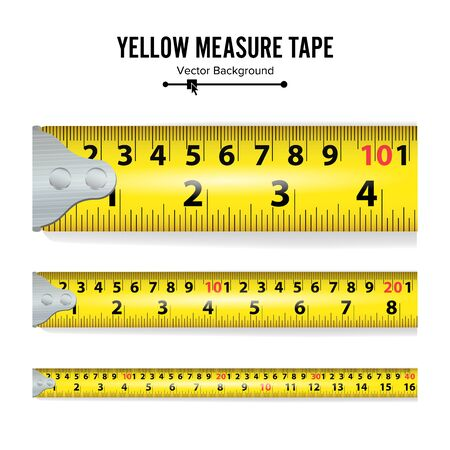 Yellow Measure Tape . Centimeter And Inch. Measure Tool Equipment Isolated On White Background. Several Variants, Proportional Scaled.