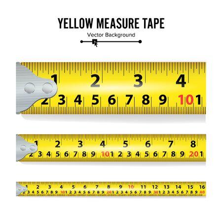 Yellow Measure Tape On White Background illustration Imagens