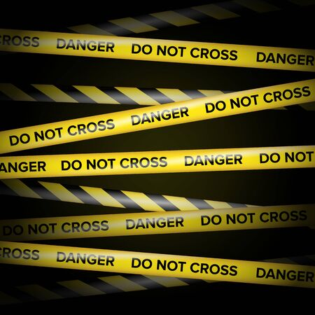 Black And Yellow Lines. Do Not Cross, Danger, Do Not Enter, Caution. Black Background.