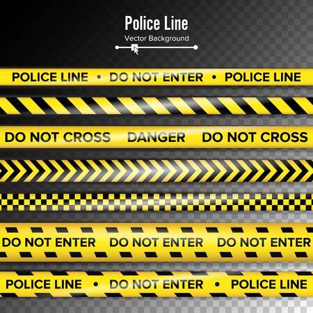 Gelb Mit Schwarzer Polizeilinie. Nicht eintreten, Gefahr. Sicherheits-Quarantänebänder. Getrennt Auf Hintergrund. Standard-Bild