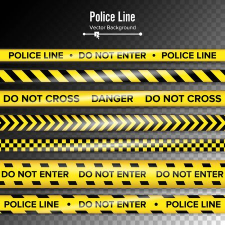 Yellow With Black Police Line. Do Not Enter, Danger. Security Quarantine Tapes. Isolated On Background. Stock Photo