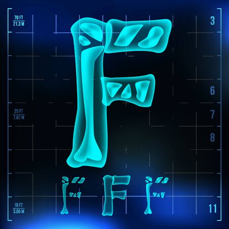 F Letter . Capital Digit. Roentgen X-ray Font Light Sign. Medical Radiology Neon Scan Effect. Alphabet. 3D Blue Light Digit With Bone. Medical, Futuristic, Horror Style. Illustration