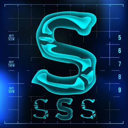 S-brief. Kapitaalcijfer. Röntgen X-ray lettertype licht teken. Medische Radiologie Neon Scan Effect. Alfabet. 3D Blauw Licht Cijfer Met Bot. Medisch, futuristisch, horrorstijl. Illustratie