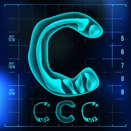 C Letter . Capital Digit. Roentgen X-ray Font Light Sign. Medical Radiology Neon Scan Effect. Alphabet. 3D Blue Light Digit With Bone. Medical, Futuristic, Horror Style. Illustration Banco de Imagens