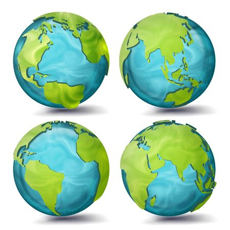 World Map . 3d Planet Set. Earth With Continents. Eurasia, Australia, Oceania, North America, South America, Africa, Europe Sphere Flip Different Angles Illustration