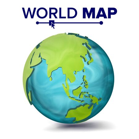 World Map . 3d Planet Sphere. Earth With Continents. Asia, Australia, Oceania Africa Illustration 写真素材
