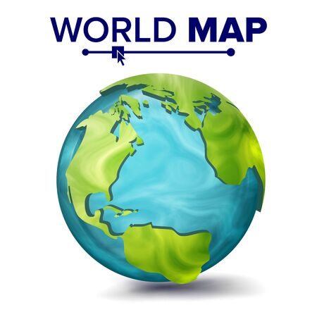 World Map . 3d Planet Sphere. Earth With Continents. North America, South America, Africa, Europe