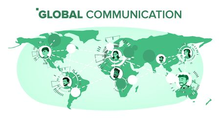 Global Communication . Chat On World Map At Distance. Worldwide. Isolated Illustration
