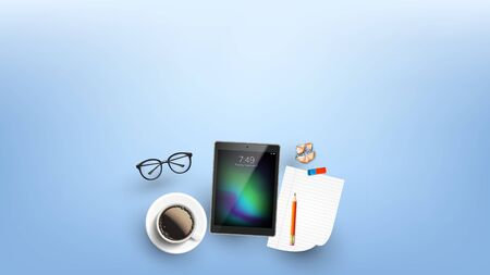 Devices For Working In Internet Flat Lay . Mug Of Coffee Near Eye Glasses, Laptop, Pencil On Blank List, Eraser And Sharpening Shavings On Working Desk. Copy Space Top View Illustration 写真素材