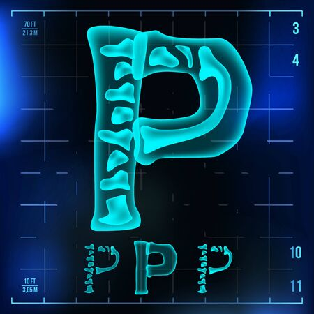 P Letter . Capital Digit. Roentgen X-ray Font Light Sign. Medical Radiology Neon Scan Effect. Alphabet. 3D Blue Light Digit With Bone. Medical, Hospital, Futuristic Style. Illustration