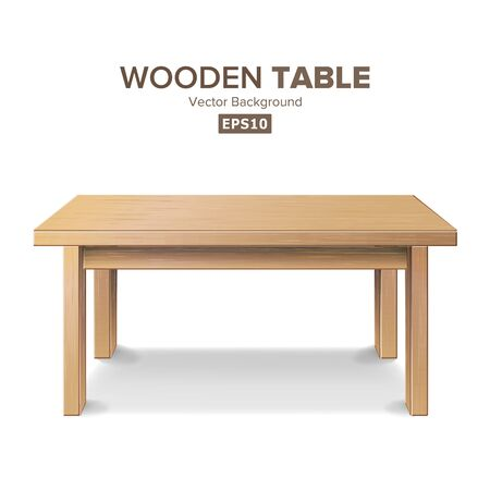 Wooden Empty Square Table. Isolated Furniture, Platform Realistic