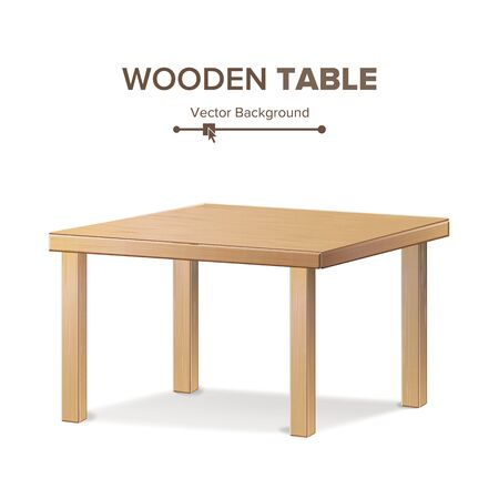 Wooden Empty Square Table. Isolated Furniture, Platform Realistic Stock fotó